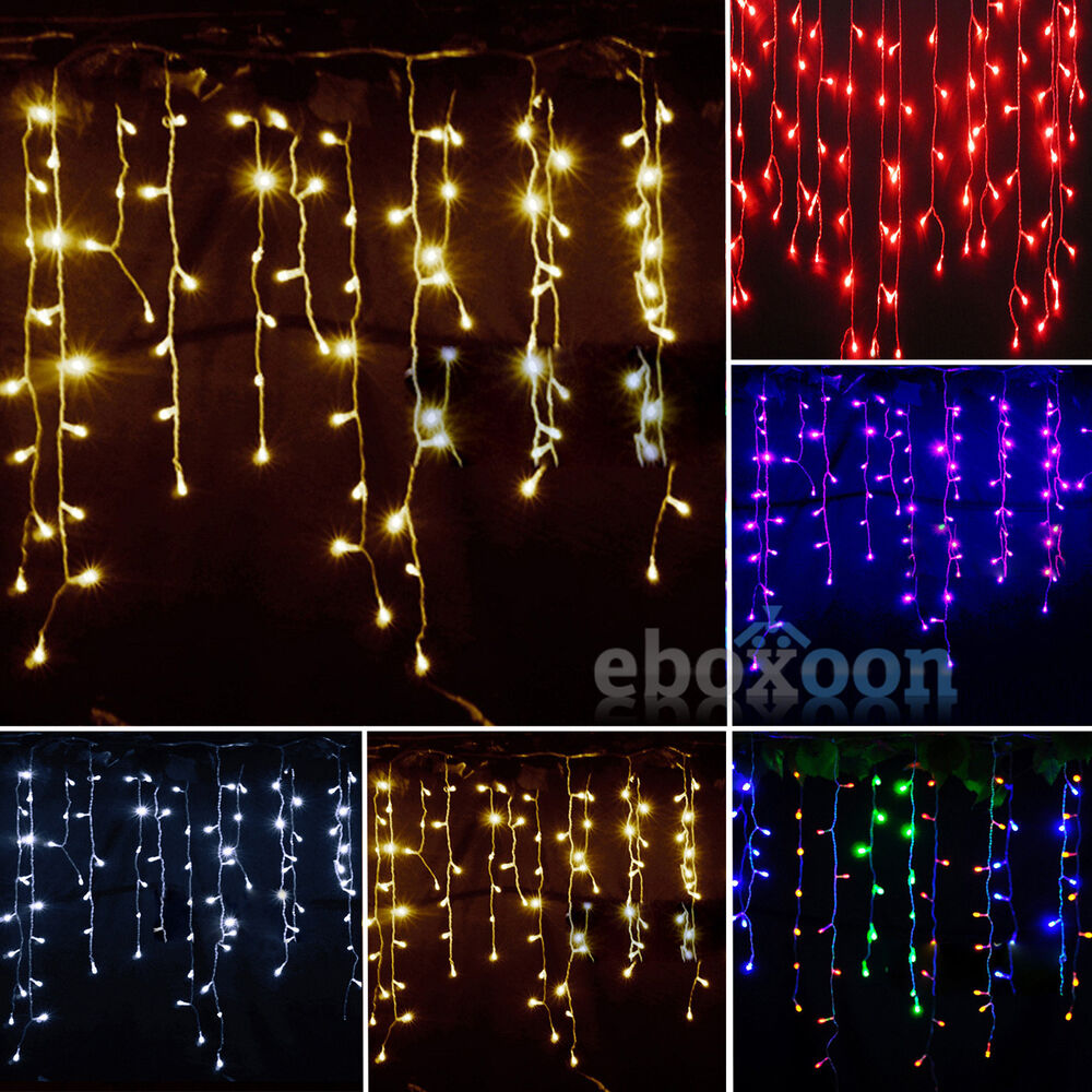 icicle hanging snowing curtain lights string fairy. Black Bedroom Furniture Sets. Home Design Ideas
