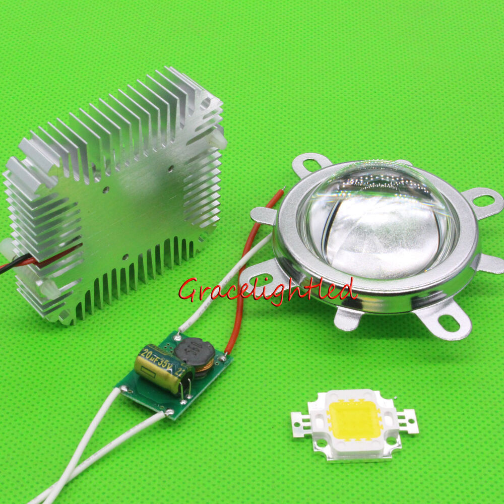10w full color white blue high power led chip 12v driver 44mm lens heatsink kit ebay. Black Bedroom Furniture Sets. Home Design Ideas