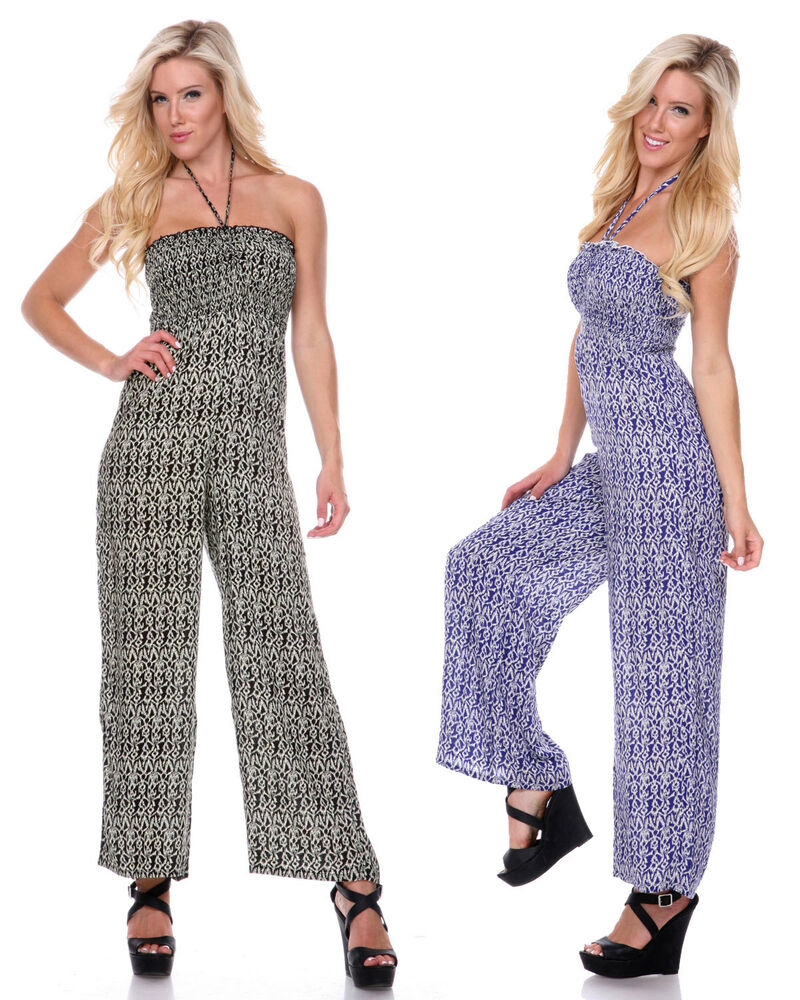 Floral Halter Strapless Smocked Casual Overalls Pants One ... - photo#34
