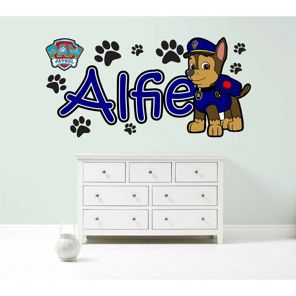 Paw patrol chase personalised wall sticker children 39 s - Childrens bedroom stickers for walls ...