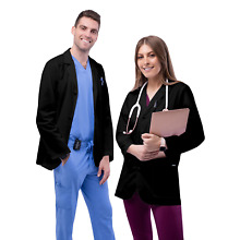 Adar Men Doctor Workwear Uniform Multiple Pockets Classic Consultation Coat