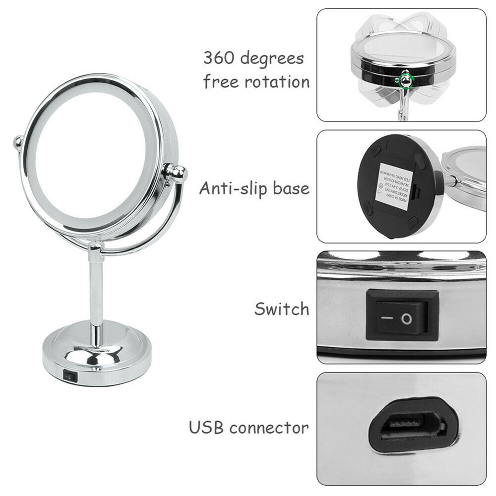 Desktop Beauty Makeup Mirror With Light Sided Magnifying