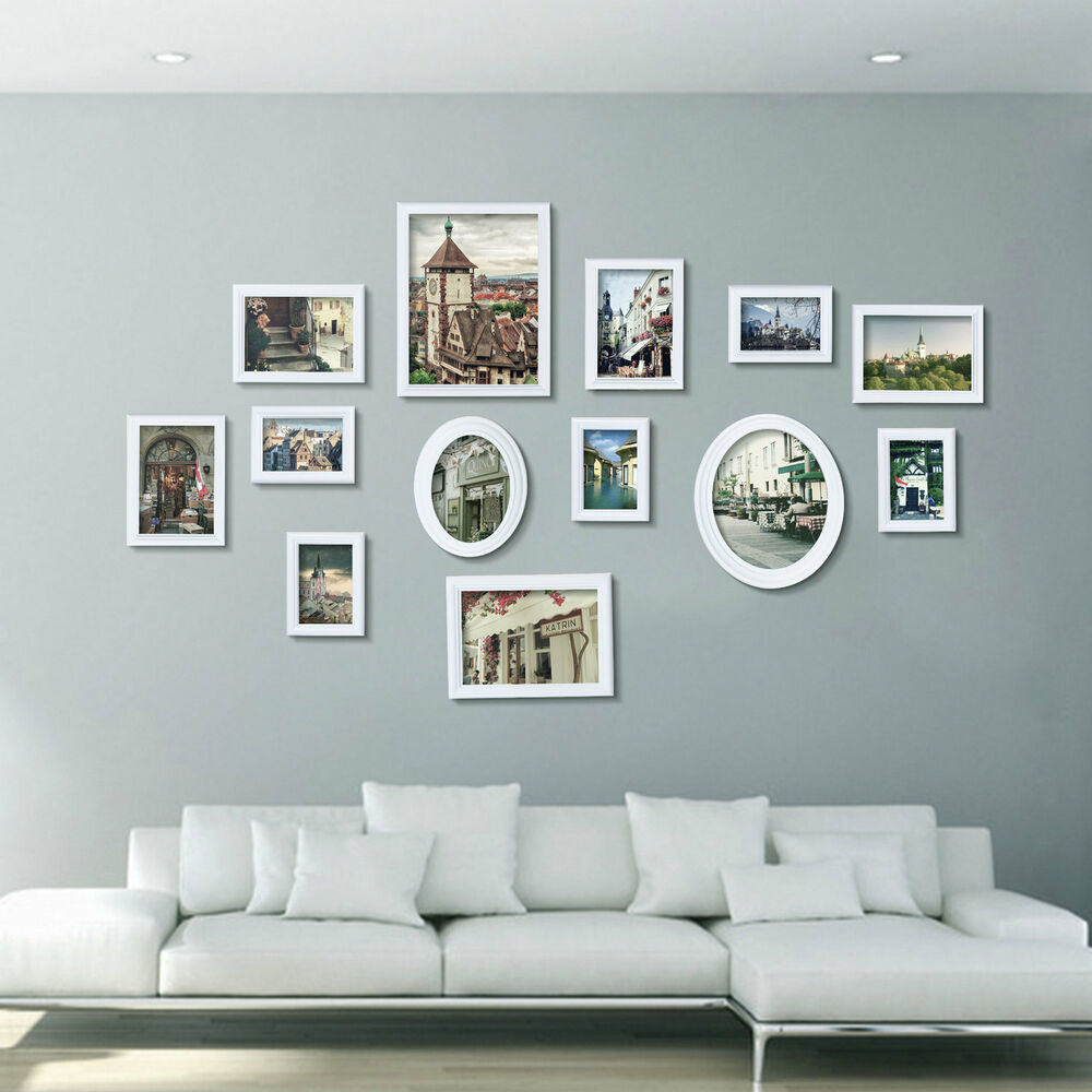 White Multi Picture Photo Frame 13 Pieces Set Wall Frames