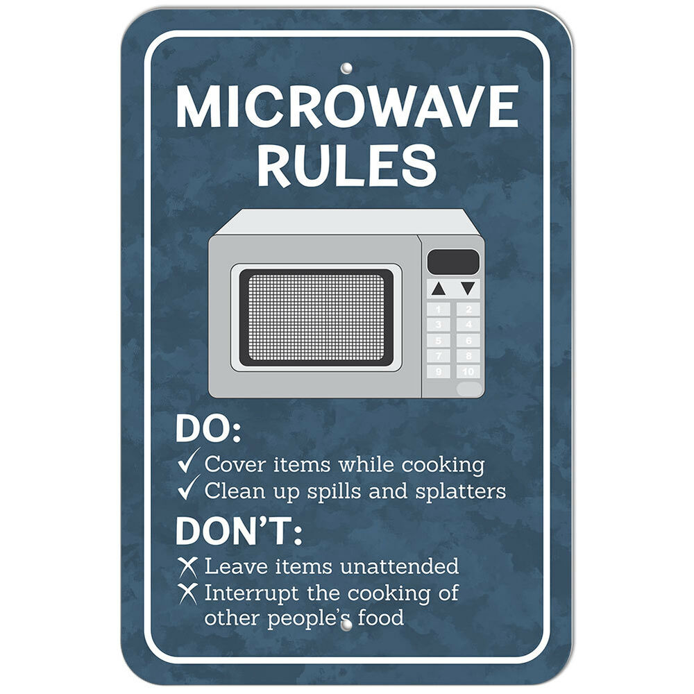 Plastic Sign Microwave Rules Office | eBay