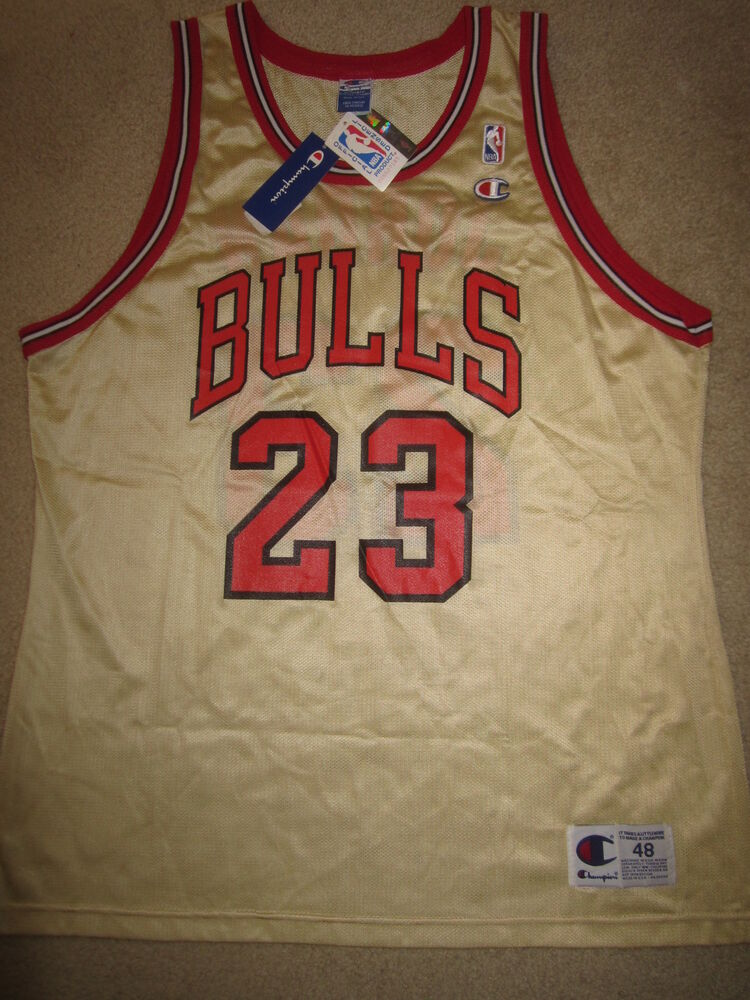 ezlimc Michael Jordan #23 Chicago Bulls GOLD NBA Champion Jersey 48 XL
