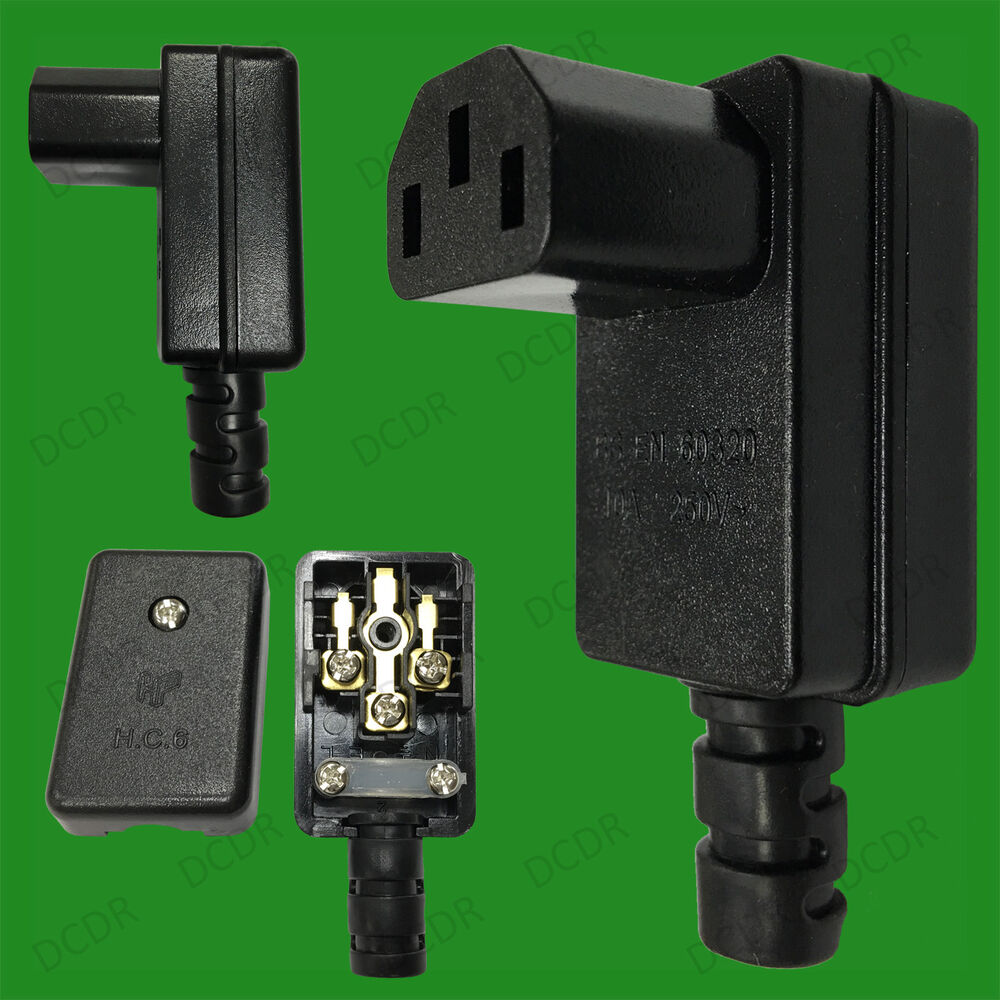 Rewire Able Right Angle Iec Female C13 10a Connector 90