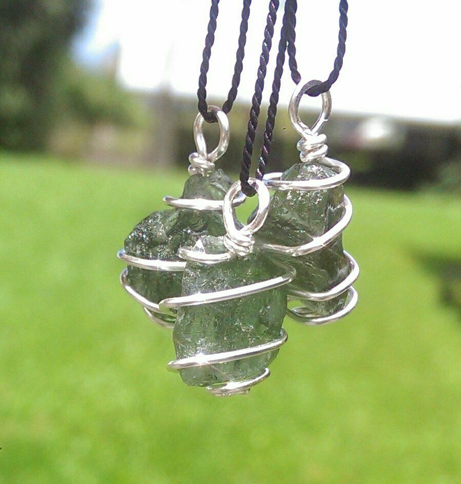 Moldavite Necklace Wire Wrap In 925 Synergy 12 Raw Rough