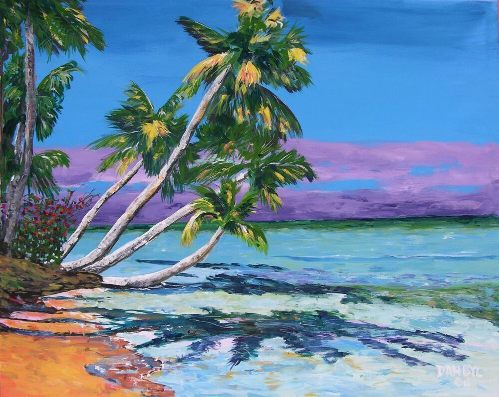 Tropical palm trees beach original art painting artist dan for Painting palm trees