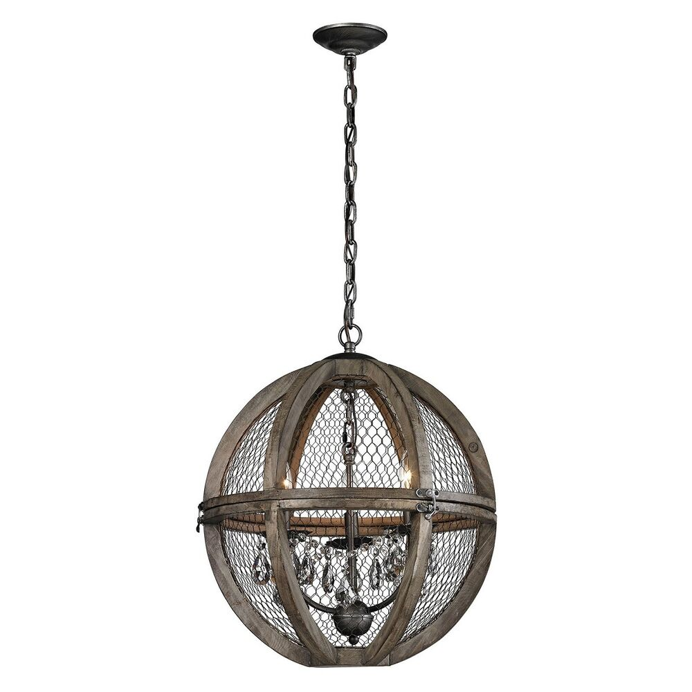 French country rustic wood wire crystal sphere pendant for Wood pendant chandelier