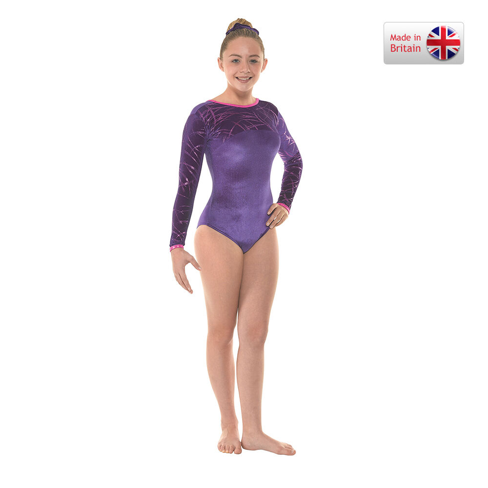Grape long sleve velvet and foil gymnastics dance leotard (29)-size 3a age  11-13  a2400bdd1be