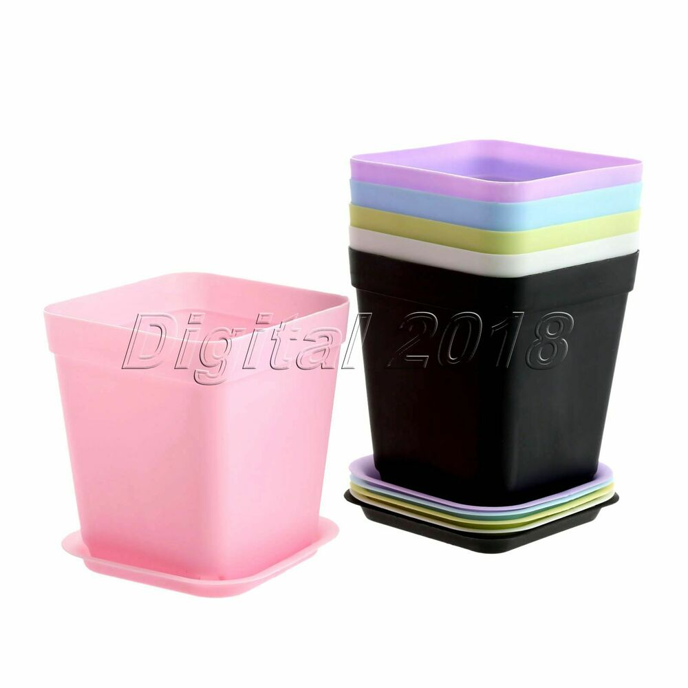 Multi Color Candy Square Saucer Pots For Flower Plant Home