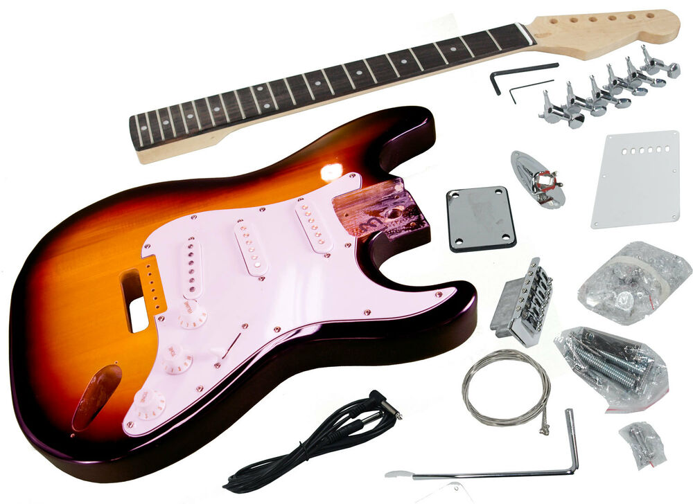 solo strat style diy guitar kit basswood body hard maple neck sunburst ebay. Black Bedroom Furniture Sets. Home Design Ideas