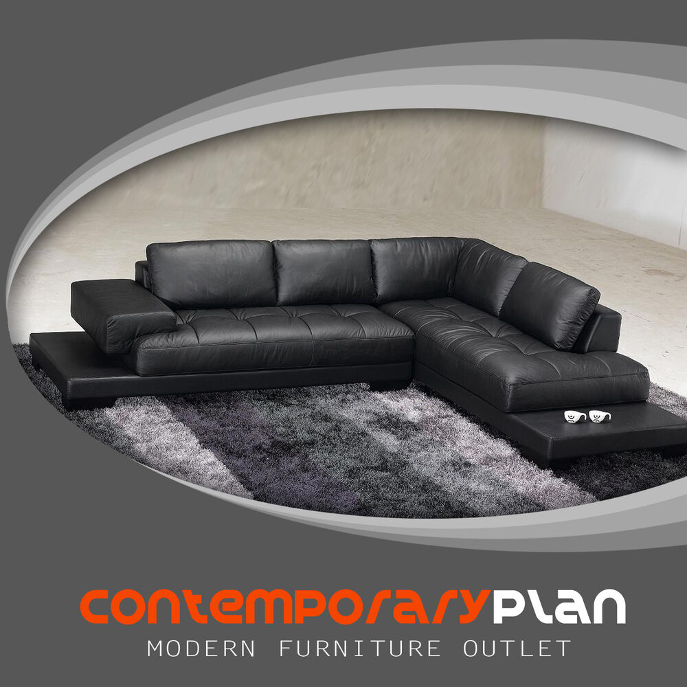 Modern Black Leather Sectional Sofa Contemporary Italian