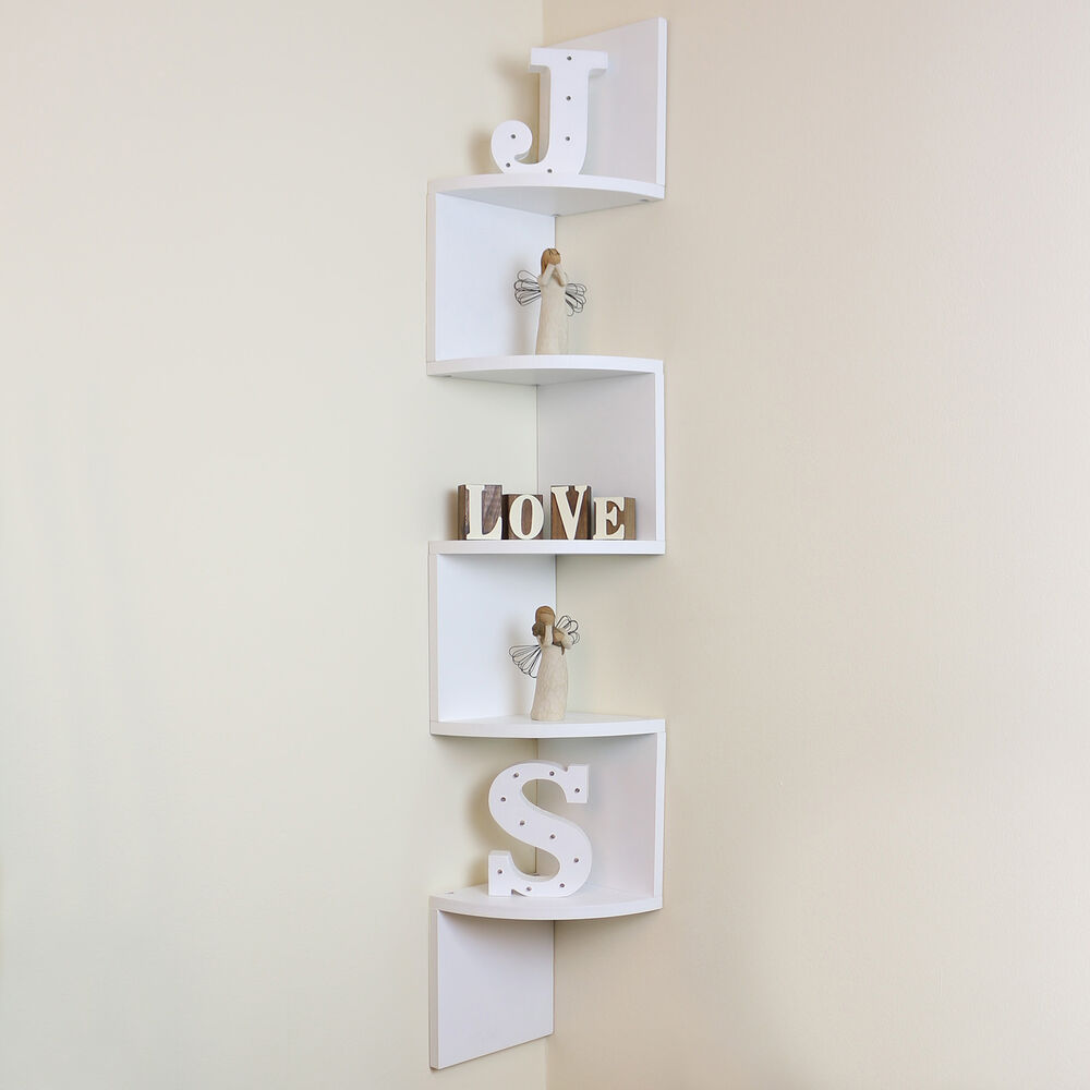 Wall Mounted Wood Shelves ~ Tier white wall mounted zigzag corner floating shelf
