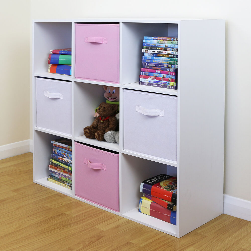 9 cube kids pink white toy games storage unit girls boys. Black Bedroom Furniture Sets. Home Design Ideas