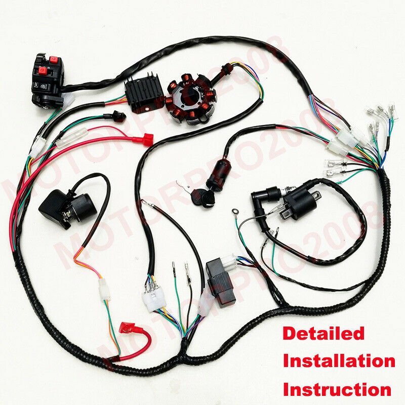 Complete Electrics Wiring Harness Gy6 125cc Wire Loom Quad
