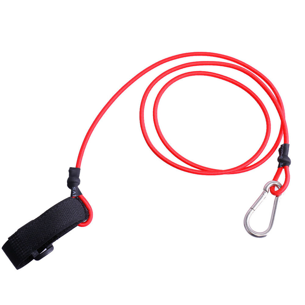 Red elastic kayak canoe safety fishing rod lanyard paddle for Fishing rod leash