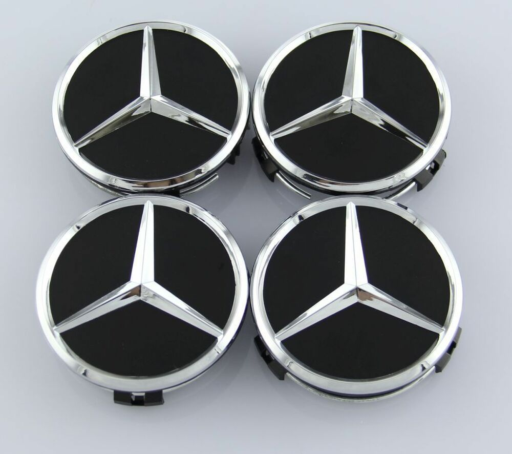mercedes set of 4 black center wheel hub caps 75mm cover