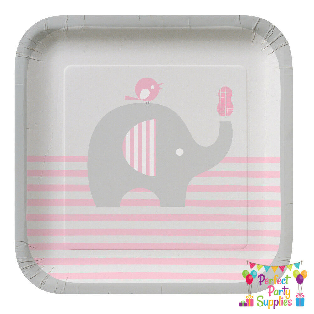 elephant girl pink little peanut lunch plates 8 pack baby