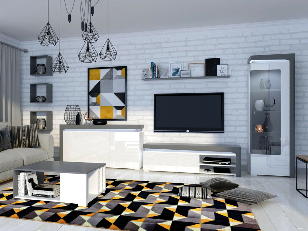 wohnwand bianko anbauwand wohnzimmer m bel vitrine tv schrank sideboard wei ebay. Black Bedroom Furniture Sets. Home Design Ideas