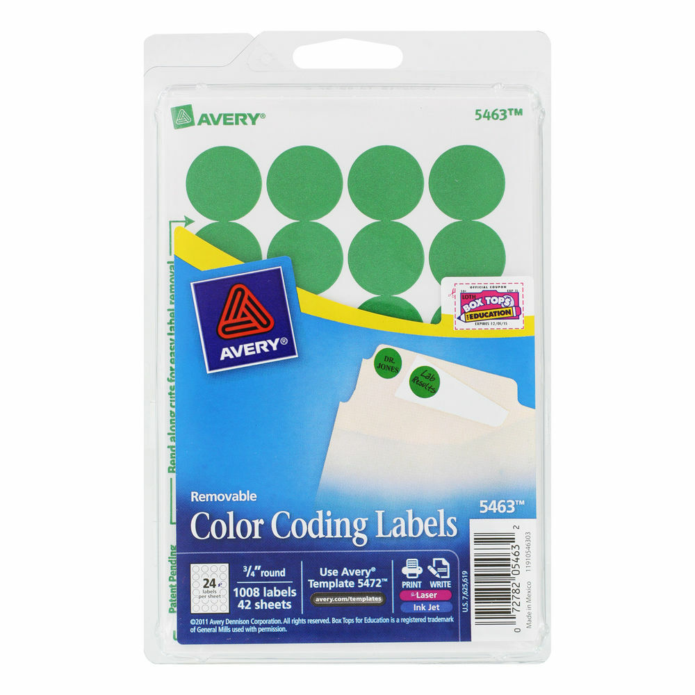 Avery Printable Removable Color Coding Labels 3 4