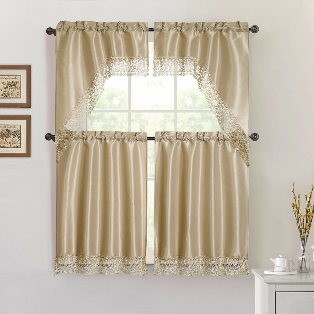 Taupe 4 Piece Kitchen Window Curtain Set Macrame Border