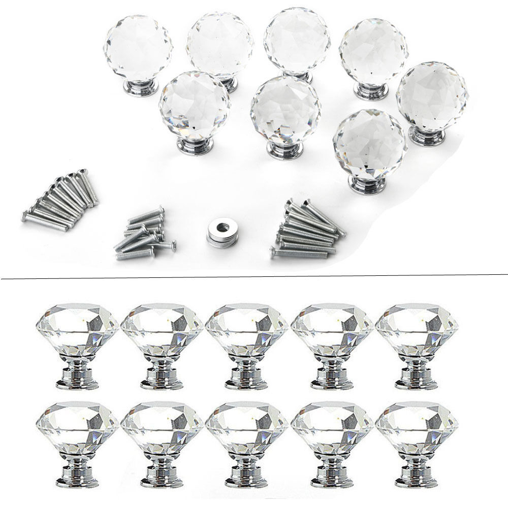 4 8 12 16pcs Clear Crystal Glass Door Knobs Drawer Cabinet Furniture Handle Diy Ebay