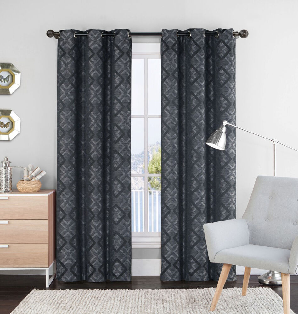 Single 1 Black And Gray Window Curtain Panel 55 X 84 Grommets Geometrical Ebay