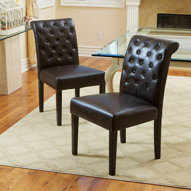 Set of 2 brown leather rolled back parsons dining chairs w for Tufted leather dining room chairs