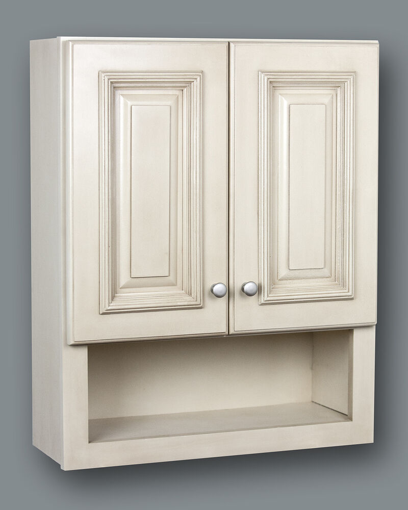 Antique white bathroom wall cabinet with shelf 21x26 ebay for Bathroom armoire cabinets