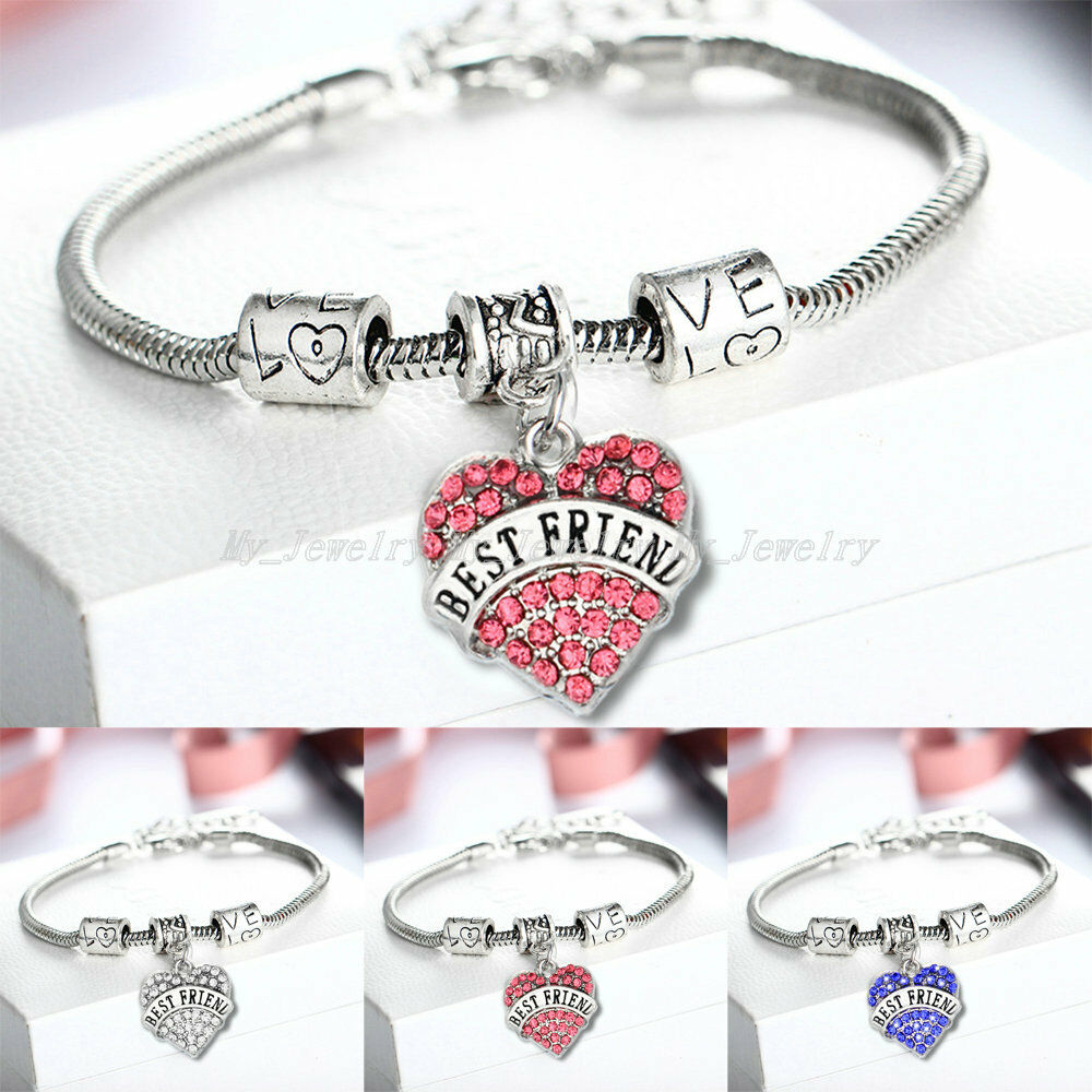 Best Friend Charm Bracelet: Crystal Heart Bangle Bracelet BFF Gift Friendship Best