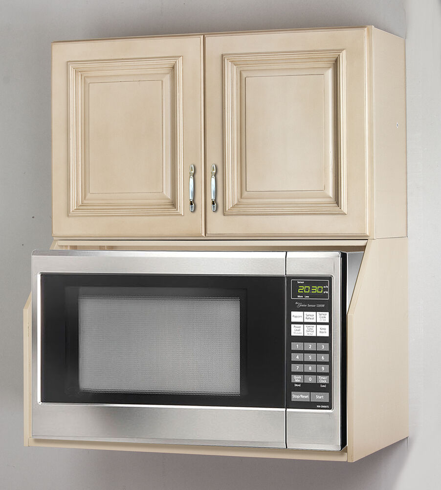 Kitchen Oven Cabinets: Tuscany White Maple Microwave Oven Wall Cabinet Set