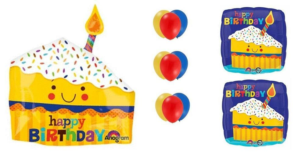 Details About 12 PC BIRTHDAY CAKE Birthday Balloons SWEET SLICE HAPPY SMILE FREE SHIPPING