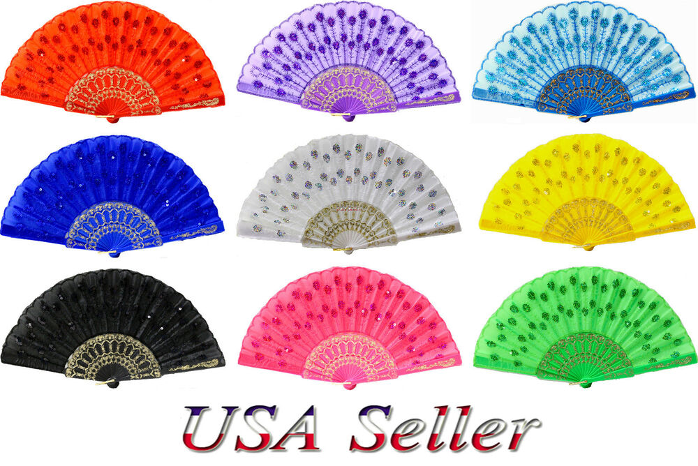 2PC LADY HAND FAN CHINESE JAPANESE FOLDING PEACOCK FEATHER ...