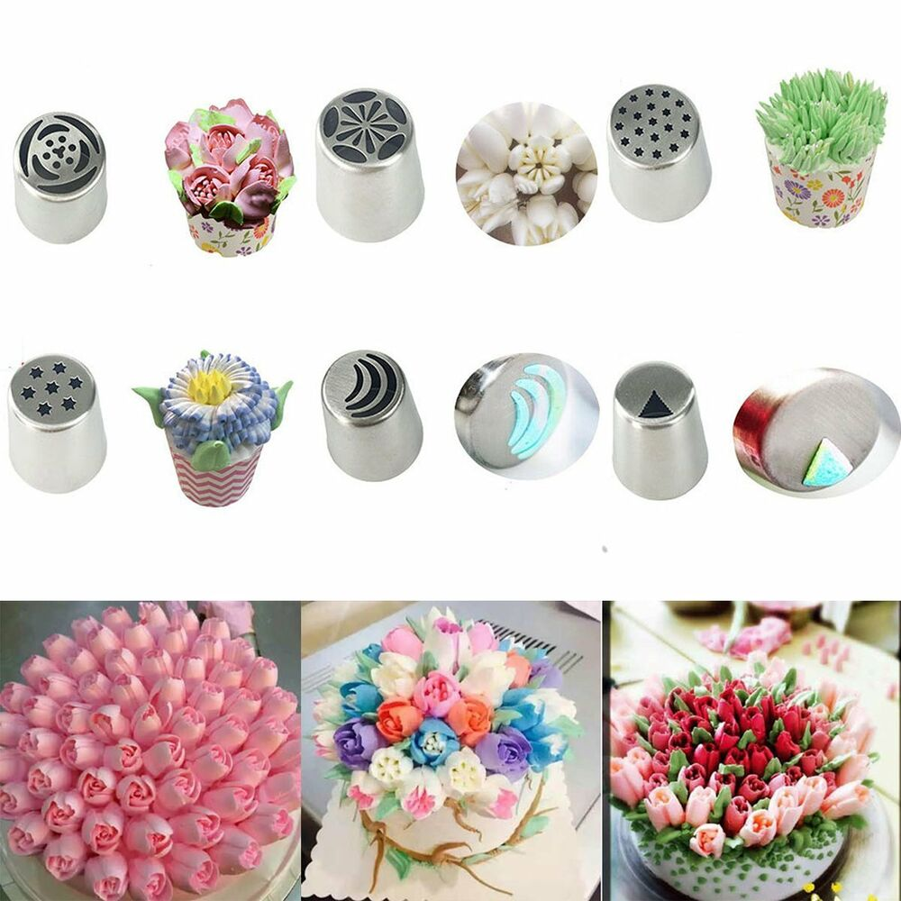 Russian Flower Icing Piping Nozzles Tips Pastry Cupcake Cake Decor Baking Tool Ebay