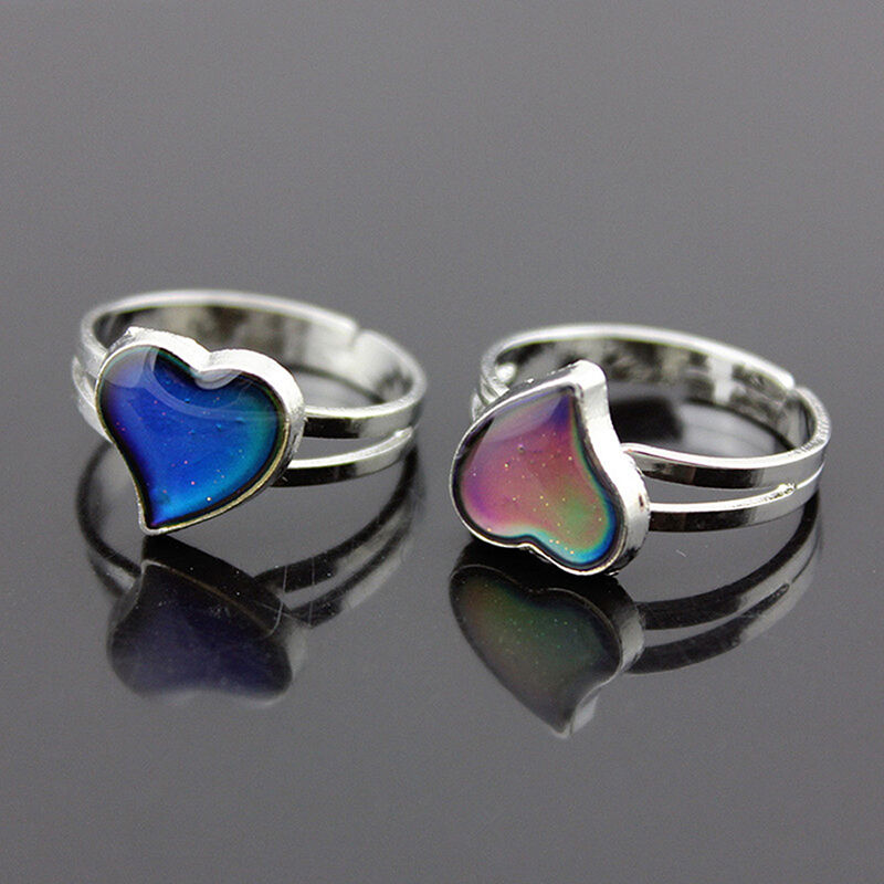 Color Changing Silver-Plated Heart-Shaped Mood Ring ...