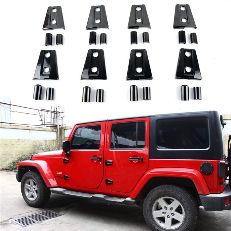 New 8pcs Black Door Hinge Cover For Jeep Wrangler 4 Door