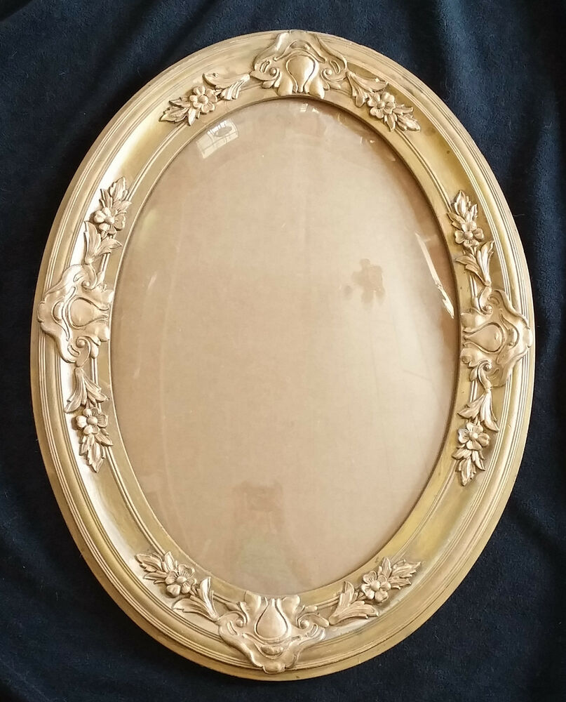 Antique Victorian Gold Wood Amp Floral Gesso Oval Picture