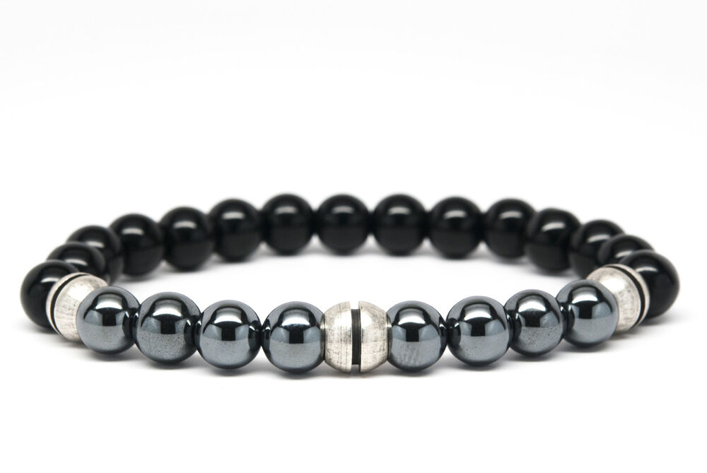 Black Onyx and Hematite Beaded Mens Bracelet Handmade | eBay