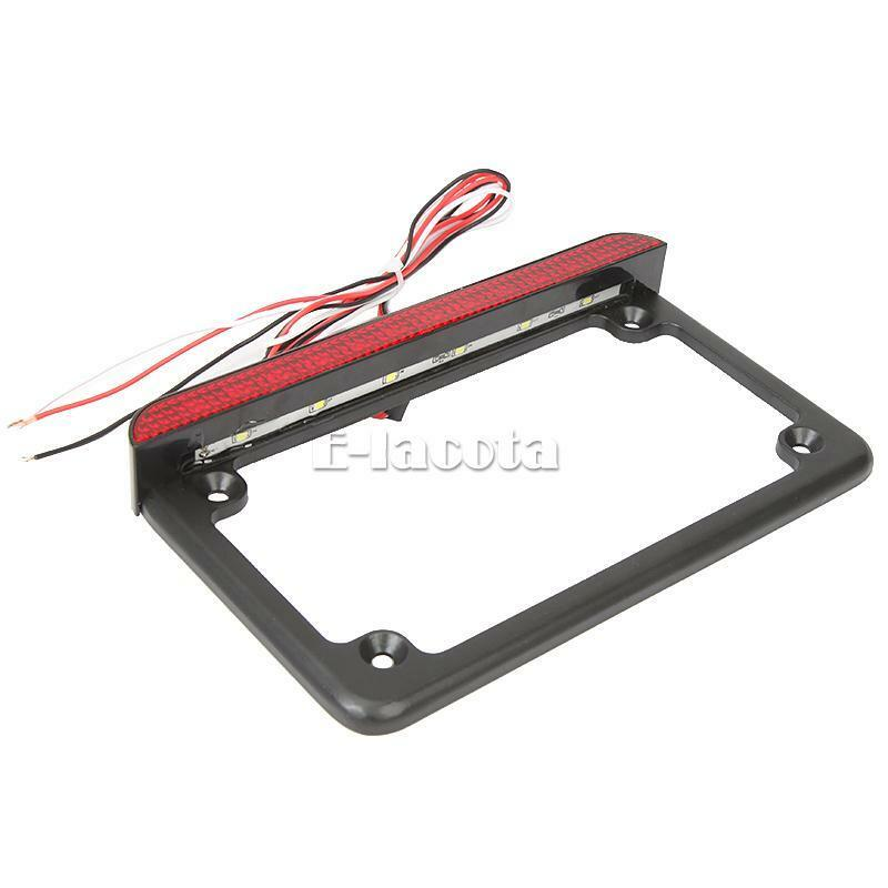 Aluminum License Plate Frame >> Motorcycle Aluminum LED License Plate Frame With LED Tail Brake Light Universal | eBay