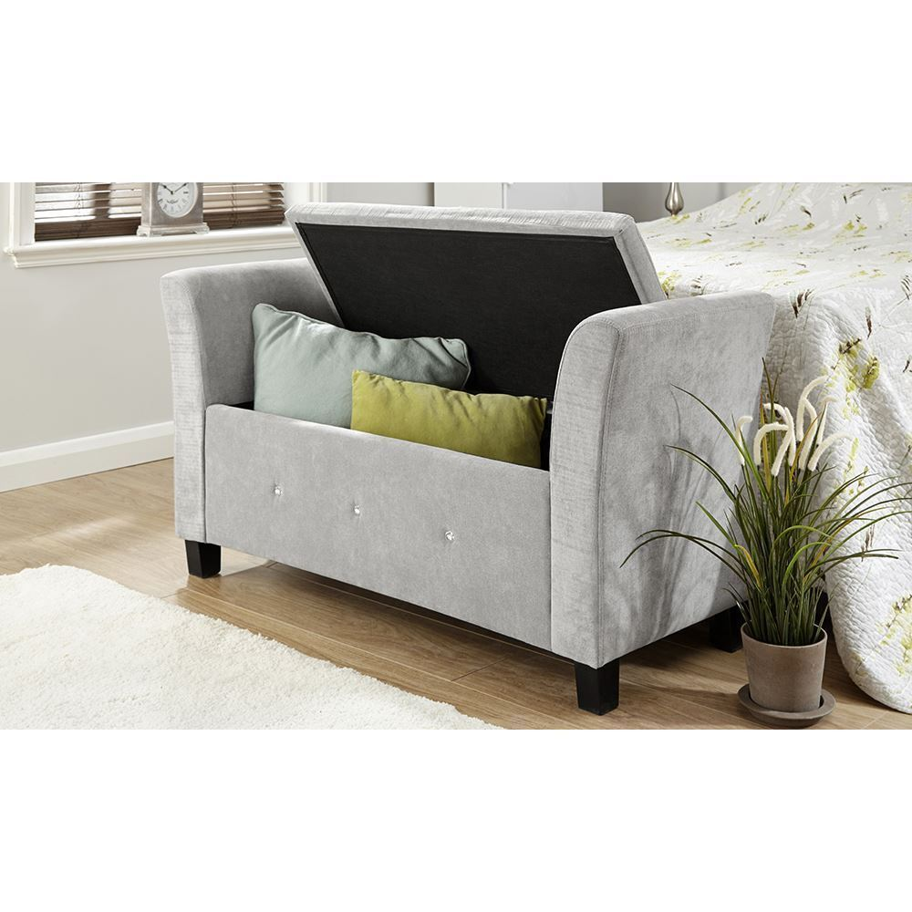 Benches With Storage Seating: VERONA DIAMANTE CHENILLE WINDOW SEAT BENCH FOOTSTOOL