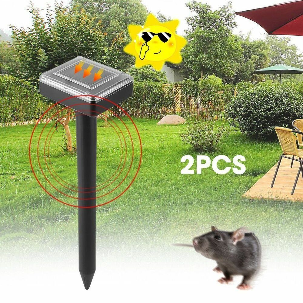 2-Solar Powered Ultrasonic Sonic Mouse Mole Pest Rodent