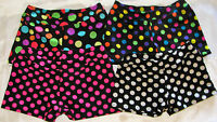 """GYMNASTIC DANCE SHORTS POLKA DOTS WHITE PINK MULTI 1"""" INSEAM YOUTH SIZES"""