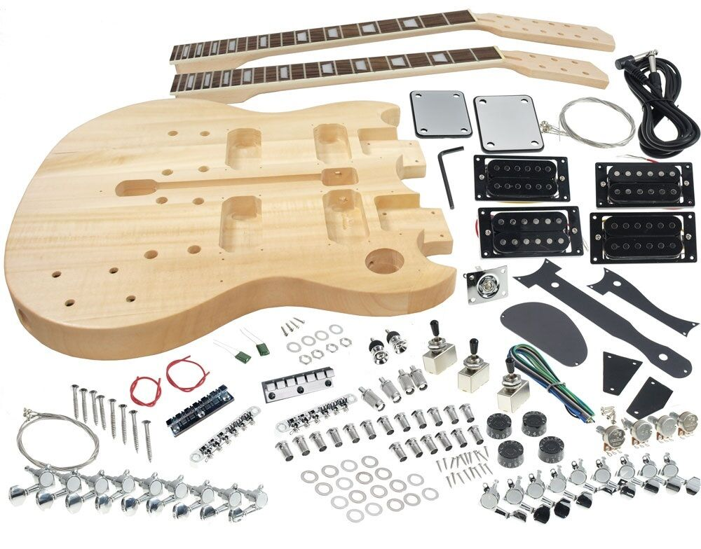 solo sg style diy guitar kit double neck basswood body dsgk 10 ebay. Black Bedroom Furniture Sets. Home Design Ideas