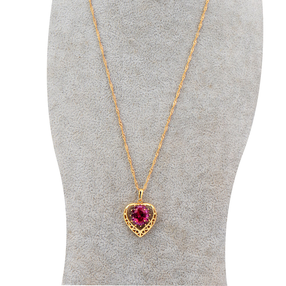 womens 14k gold filled ruby heart pendant gold chain long