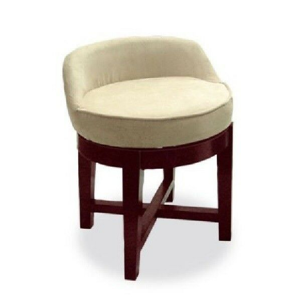 Swivel Vanity Stool Low Profile Padded Seat Chair Upholstered Wood Cherry Sho