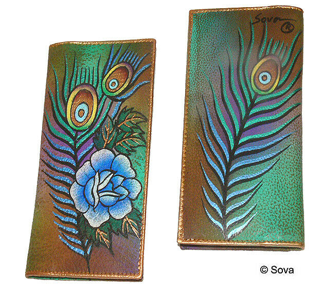 Cheque Book Cover Pattern : Sova hand painted fine art leather check book cover ebay