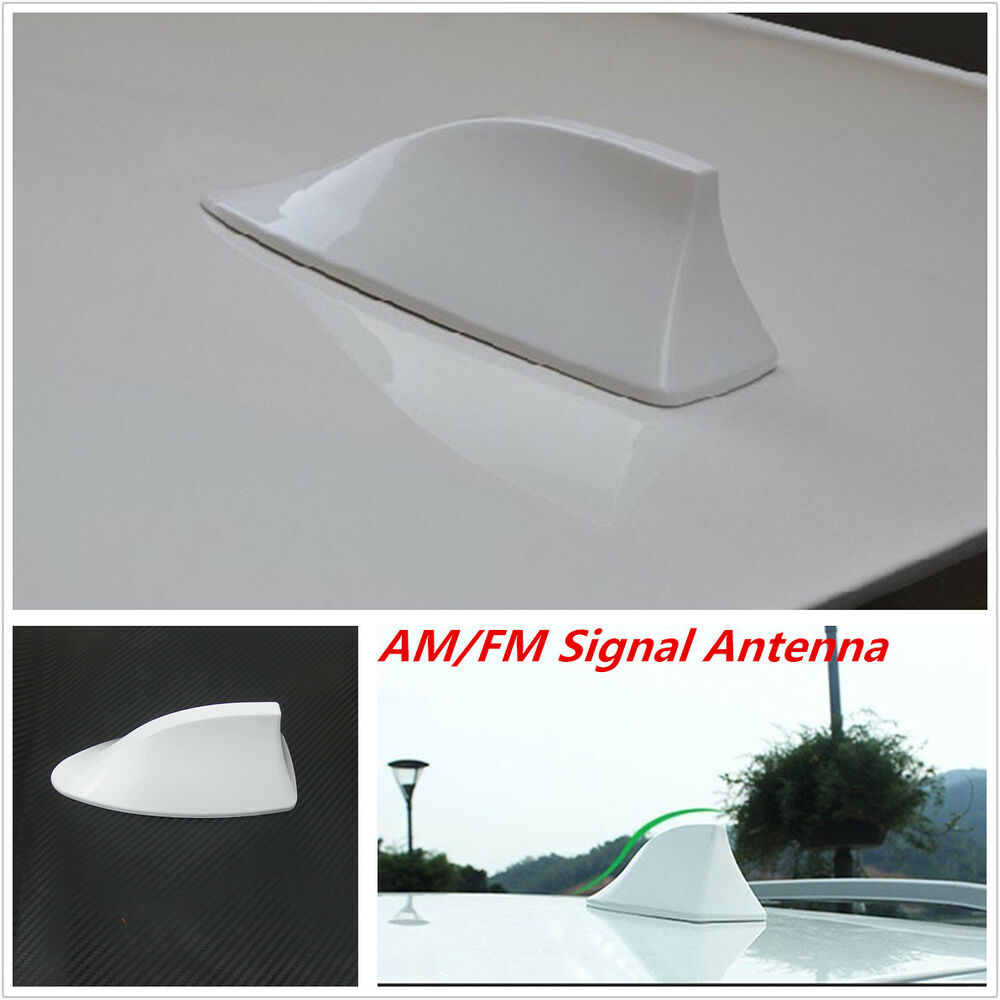 Universal White Car Auto Roof Shark Fin Antenna Aerial Fm