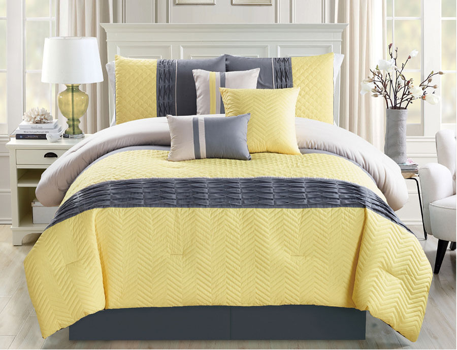 Black And Yellow Comforter Queen: 11 Piece Chevron Quilted Pleat Yellow/Gray Bed In A Bag