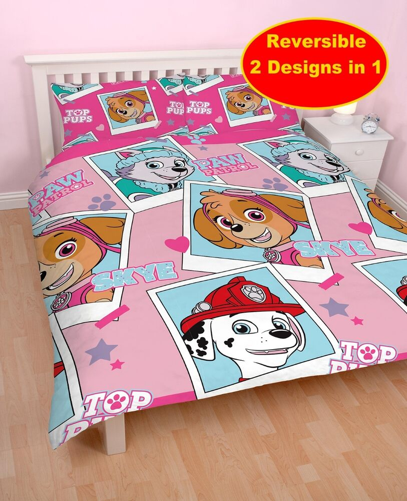 NEW PAW PATROL 'STARS' PINK DOUBLE DUVET QUILT COVER SET ...